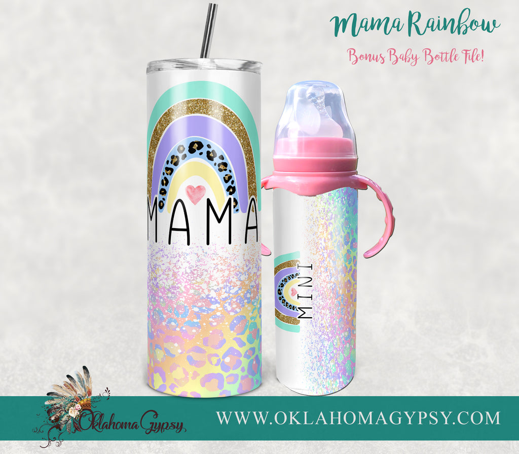 Mama & Mini Rainbow Leopard Digital File Wraps