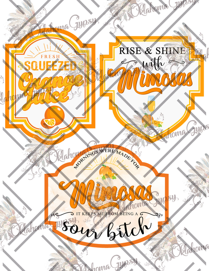 Orange Juice Mimosa Labels Digital File