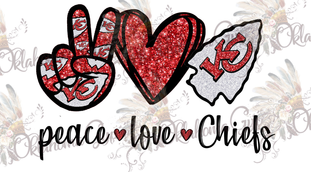 Peace Love Chiefs Red Glitter Digital File