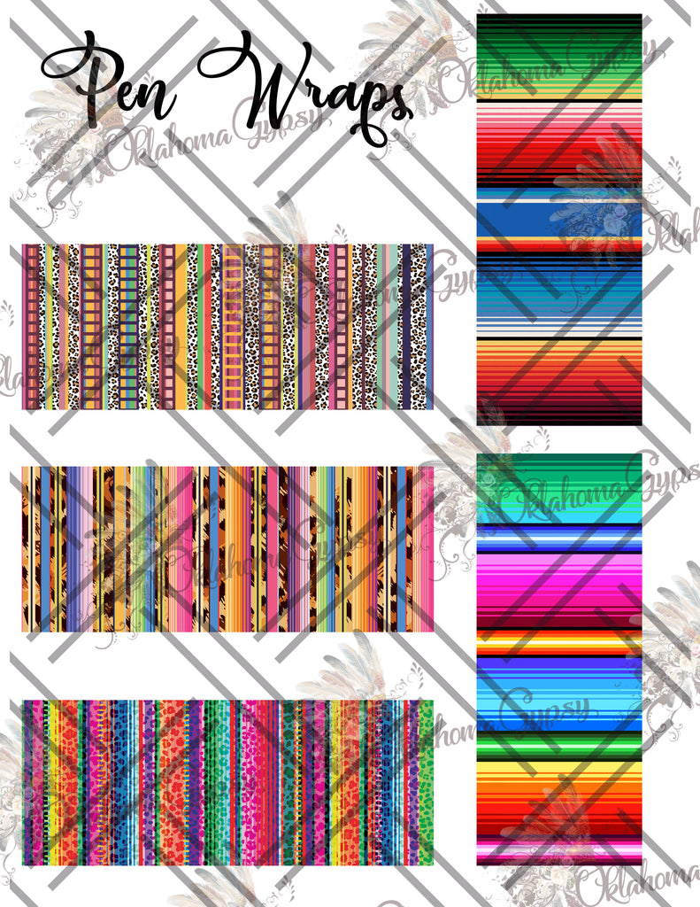 Pen Wraps ~ Serape Set Digital File