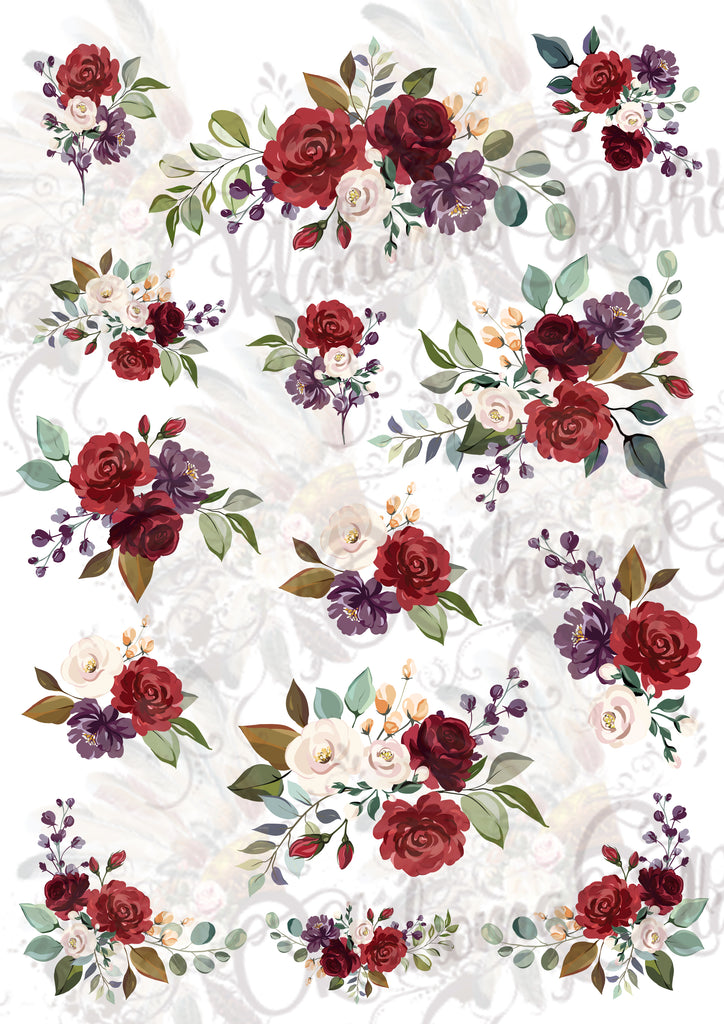 Red Purple Floral Digital File