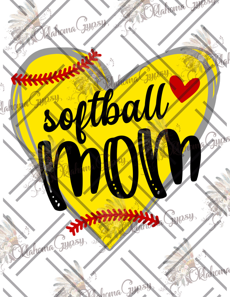 Softball Mom Heart Digital File
