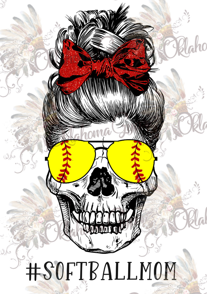 Skeleton Softball Mom Digital File