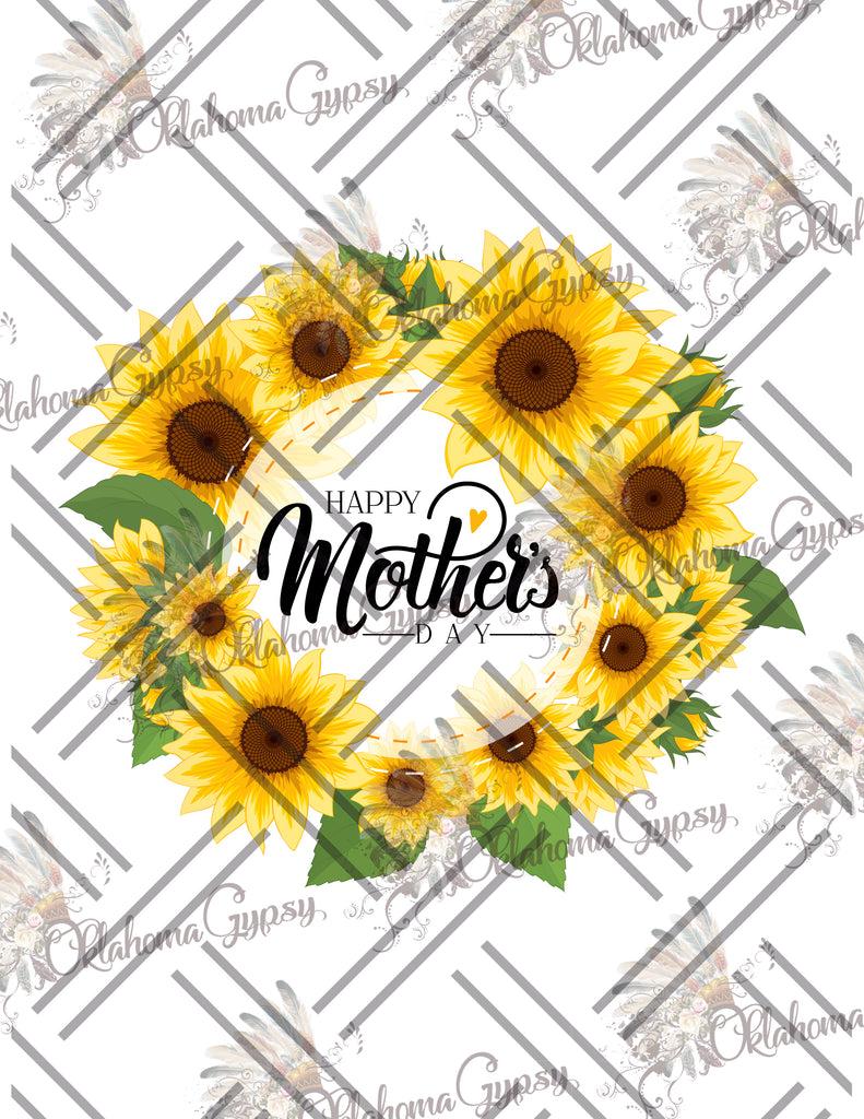 Happy Mother's Day Sunflower Wreath Digital File