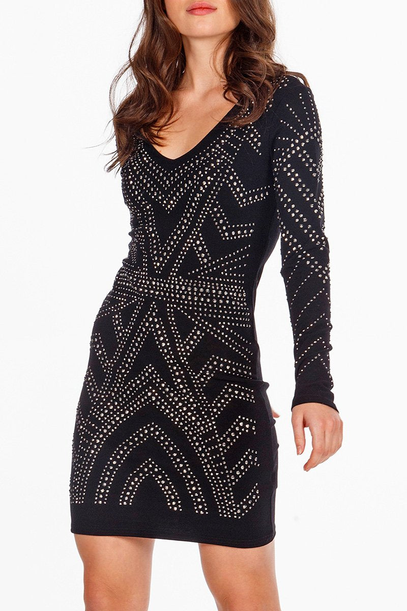 V Neck embellished dress