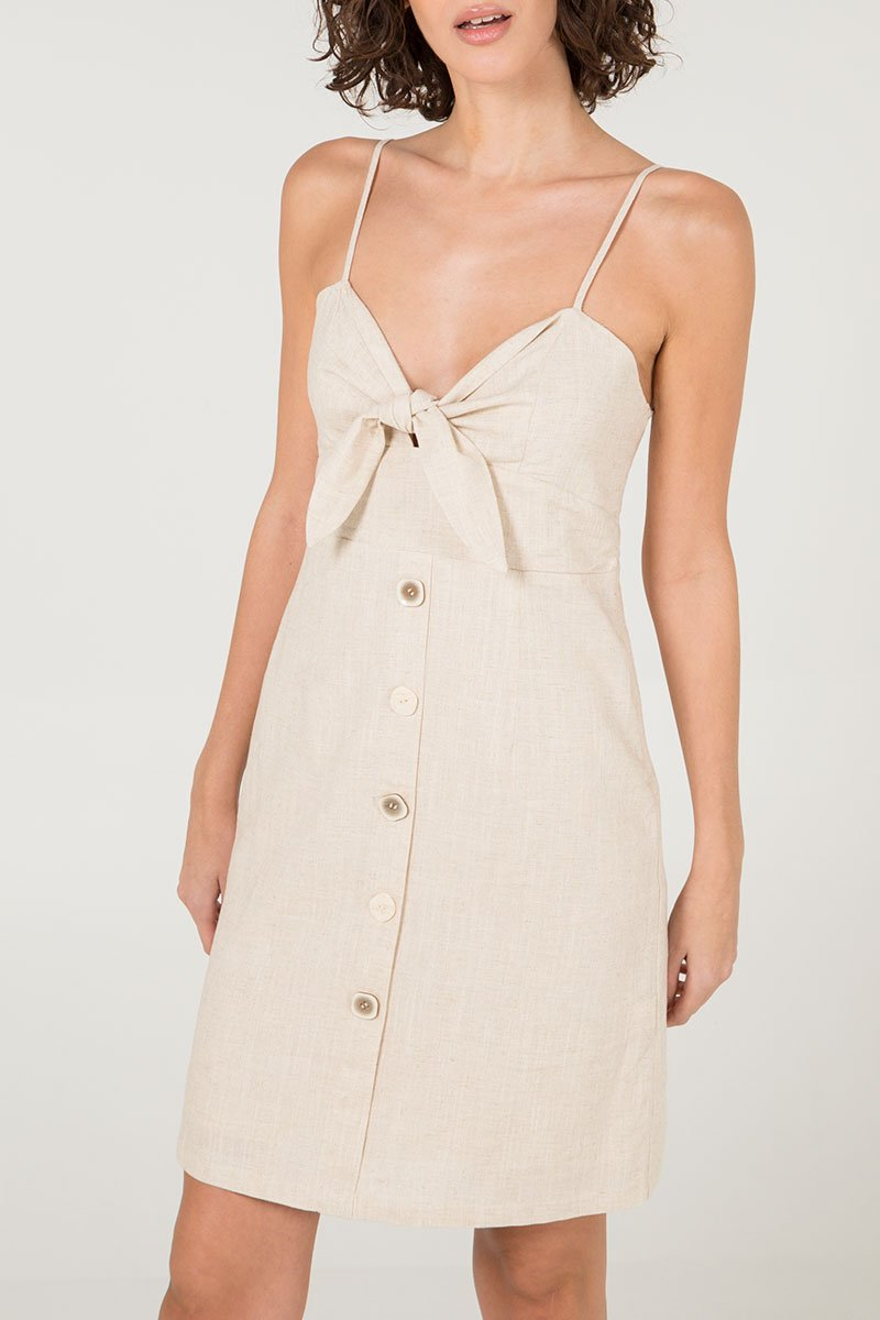 Bow knot linen dress