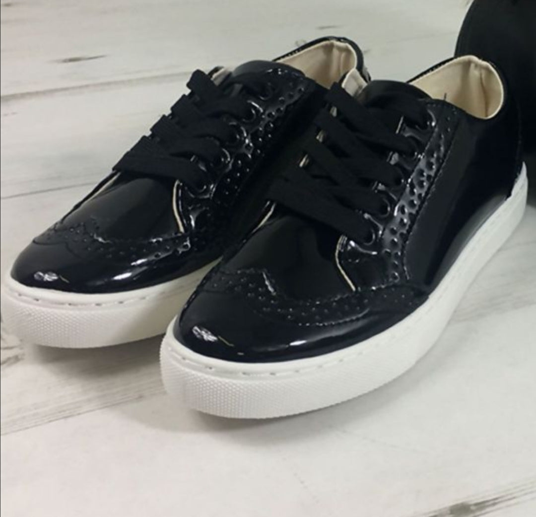 Metallic lace up trainer shoes