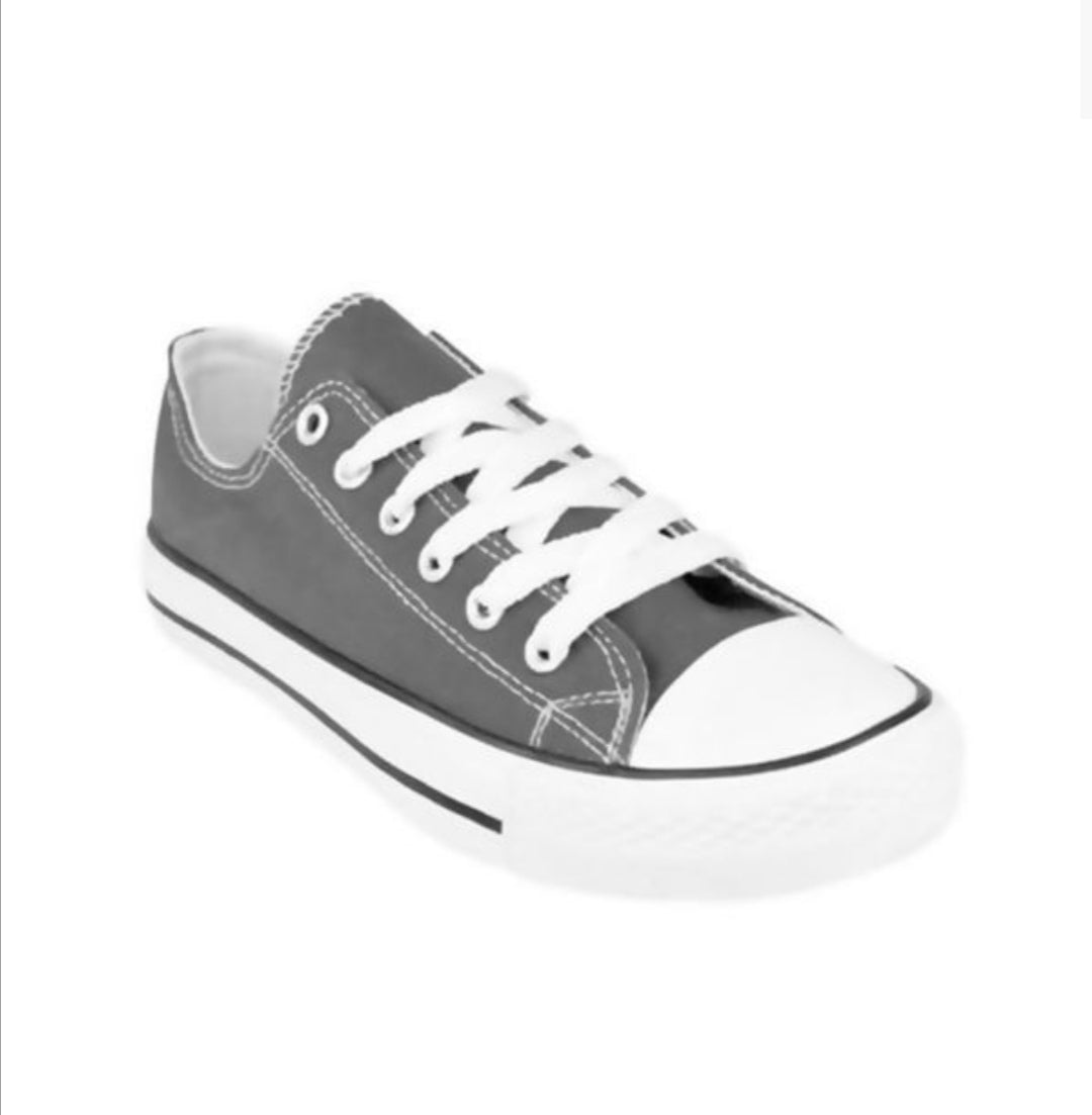 Grey canvas flat Lace up trainers