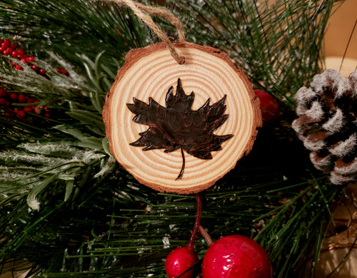 Maple Leaf Wood Ornament