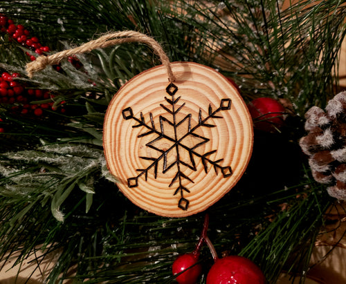 Snowflake Wood Ornament #2