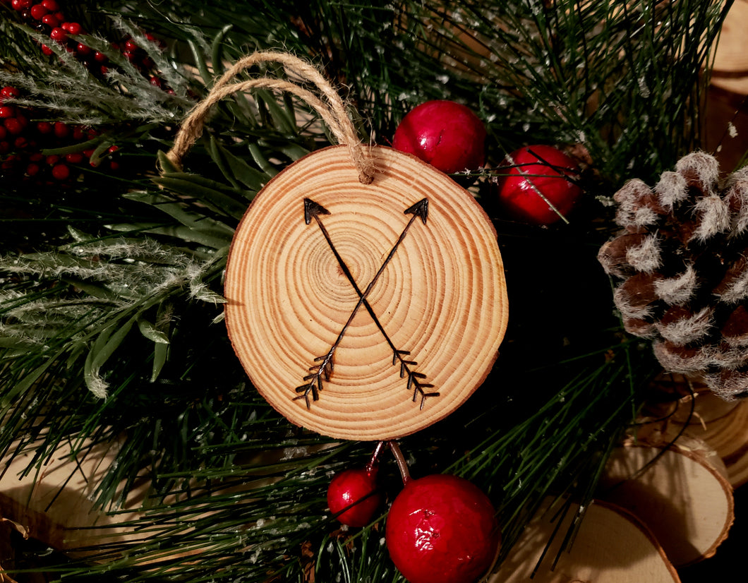 Crossing Arrows Wood Ornament