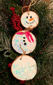 Glittery Snowman Ornament Paint Kit