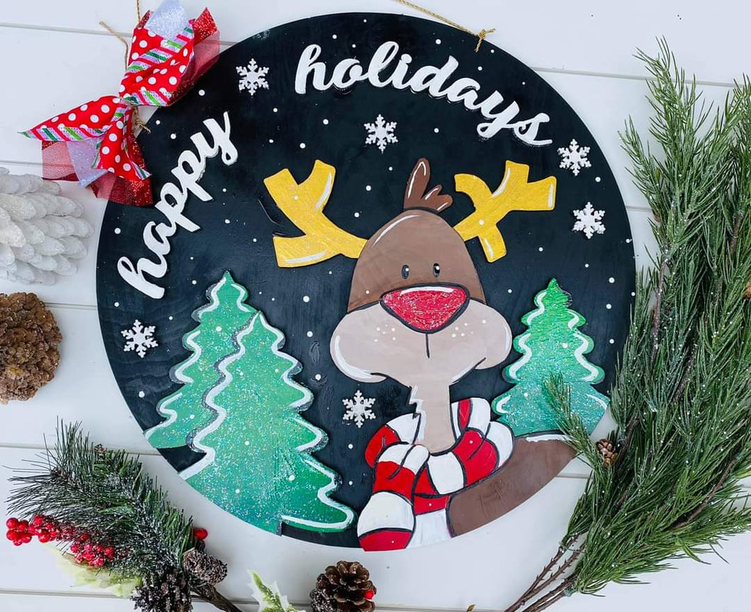 Happy Holidays Door Hanger-3D