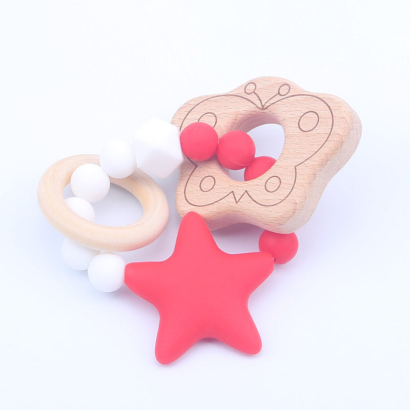 Nature wooden baby teether- Red Butterfly
