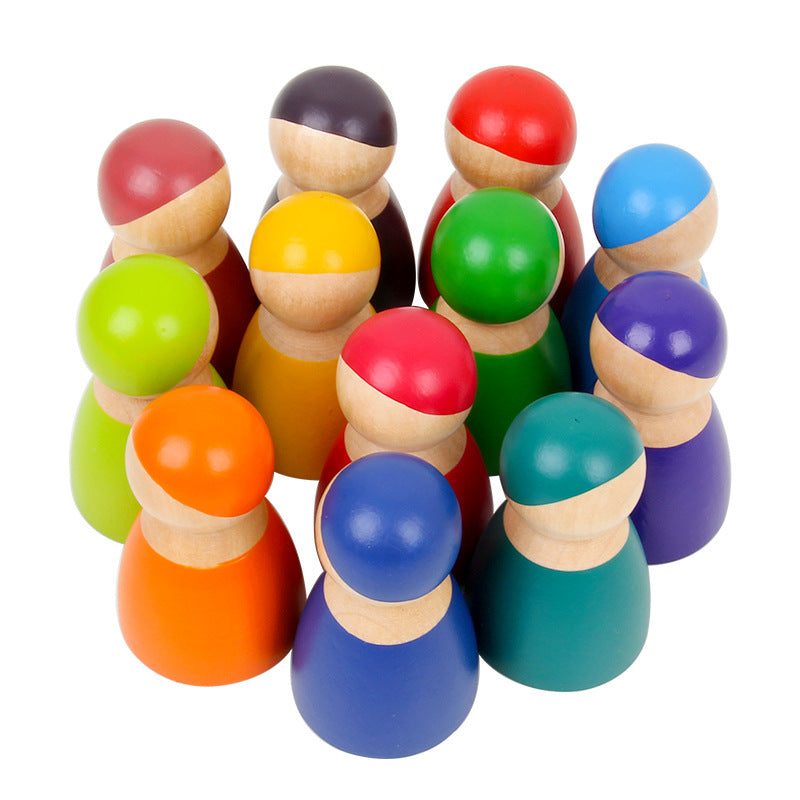 Montessori Set of 12 Wooden Rainbow Dolls - Wooden Rainbow Friends Pretend Play Peg Dolls