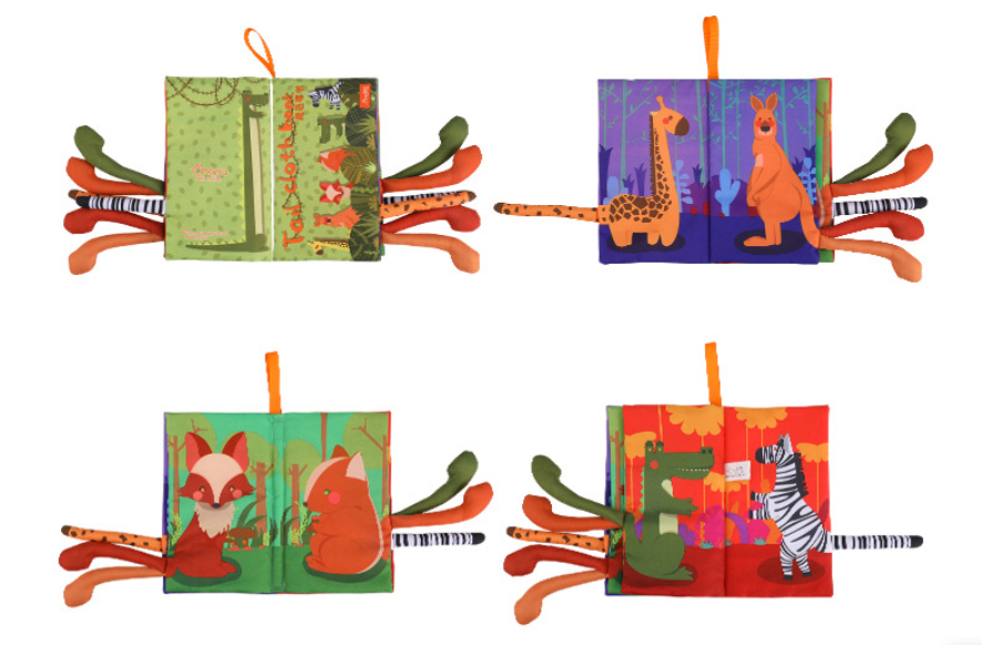 Animals Stereoscopic Tails Cloth Book-Green