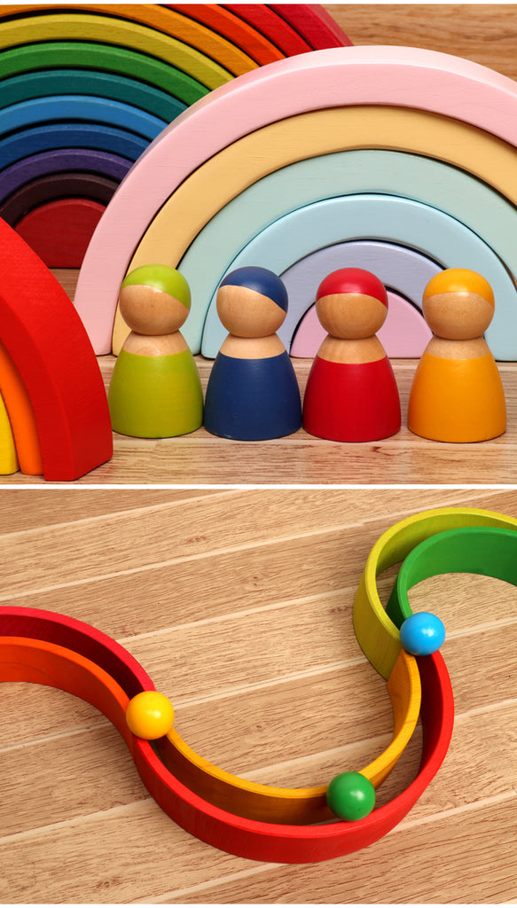 Wooden Montessori Toy Colorful Rainbow Balls 6 pic Set
