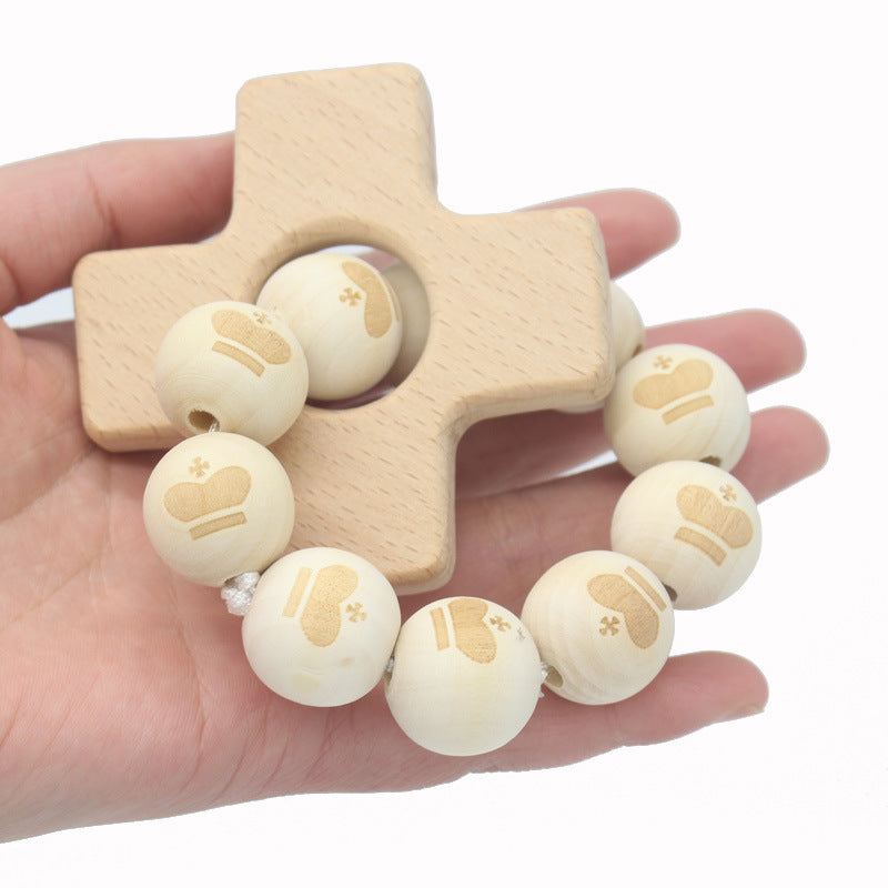 Nature wooden baby teether-Cross shaped