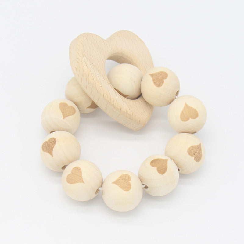 Nature wooden baby teether-Loving heart