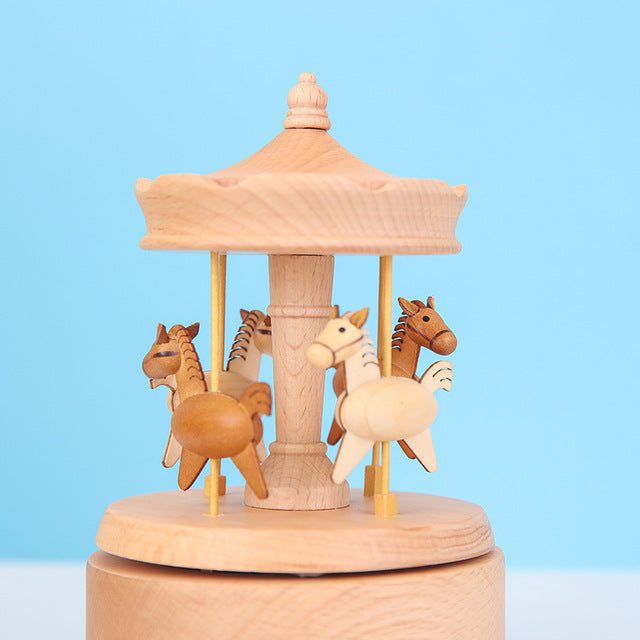 Home Decor Originality Wooden Music Box--Carousel (Move up and down when rotating)