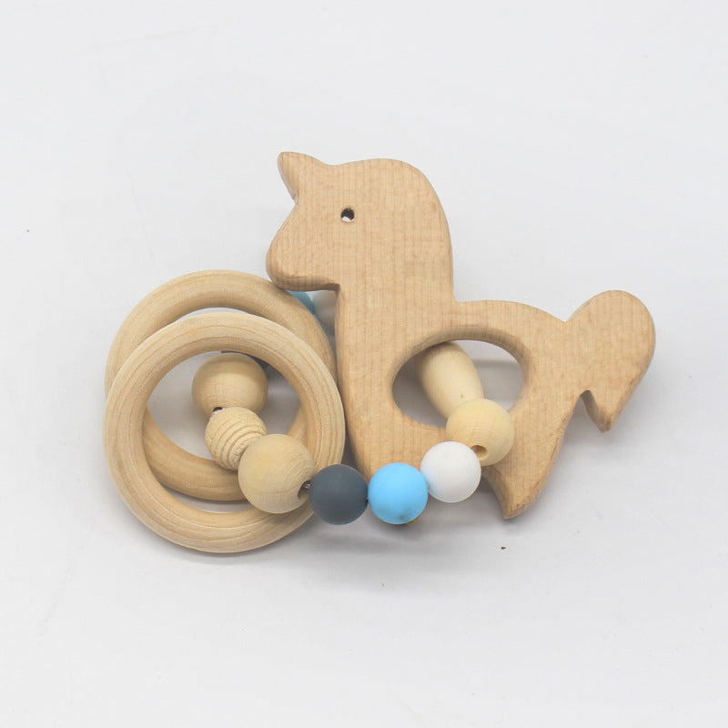 Nature wooden baby teether-Unicorn