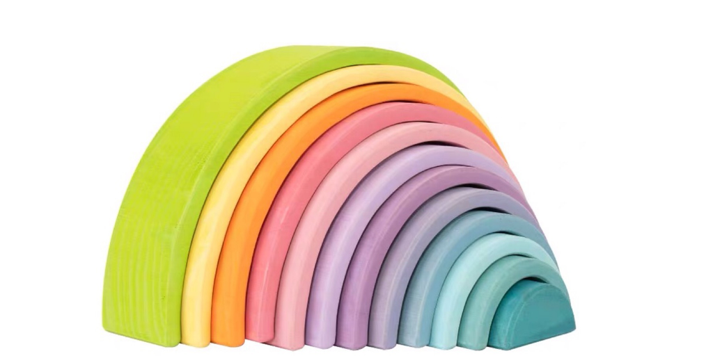 Montessori 12 Piece Large Wooden Rainbow Stacker-Macaron