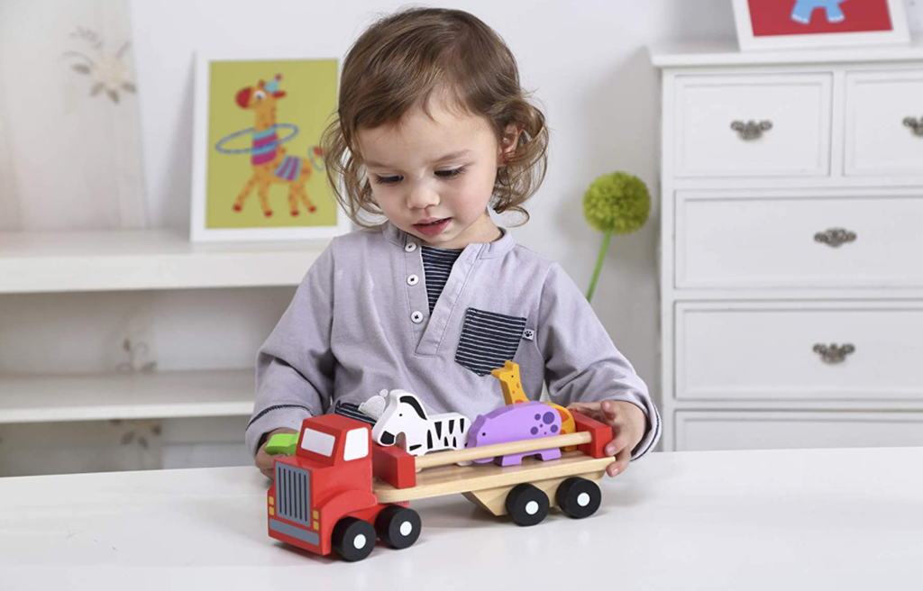 Tooky Toy Wooden Animal Truck Carrier-Vehicle Set