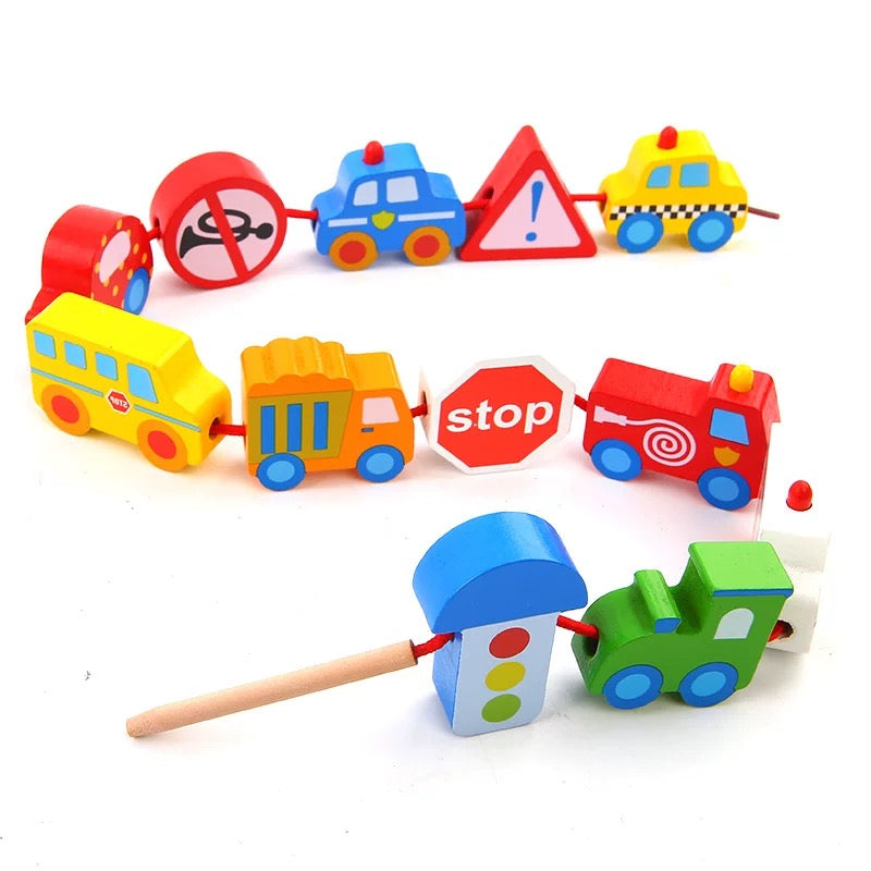 Tooky Toy Wooden Traffic Lacing Beads