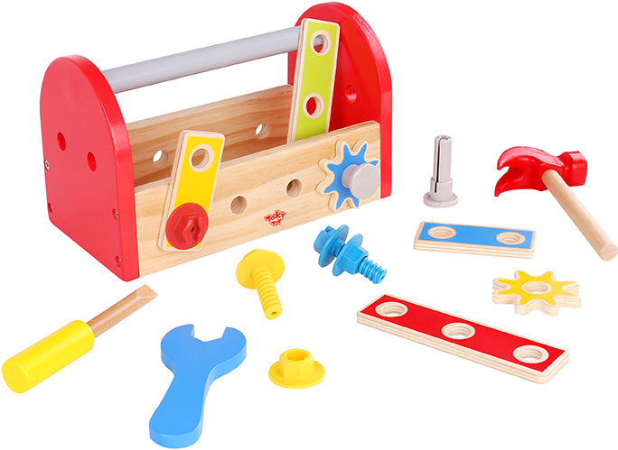 Tooky Toy Wooden Tool Box (Red)