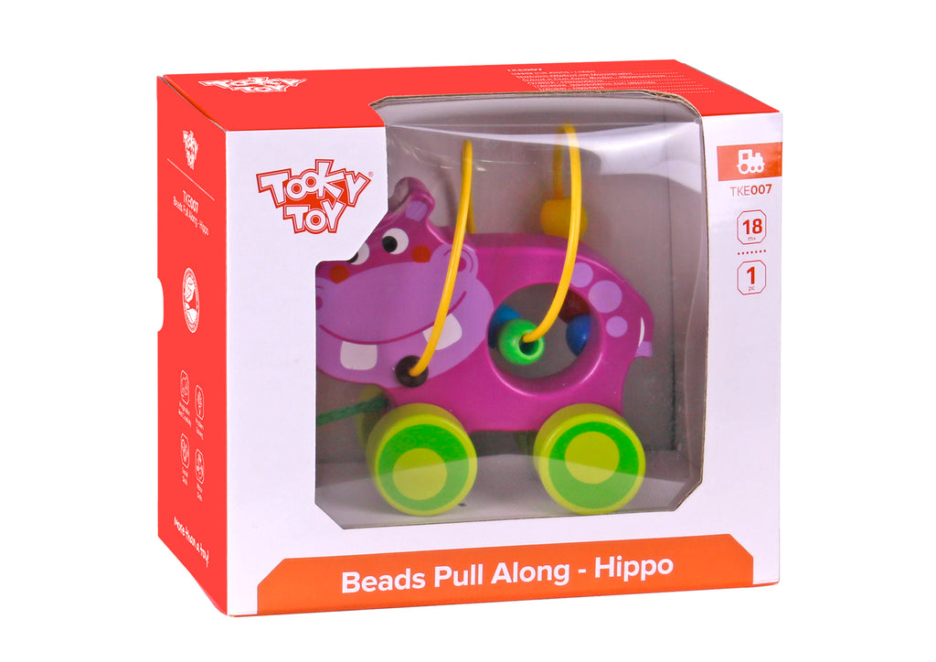 Tooky Toy Wooden Beads Pull Along - Hippo