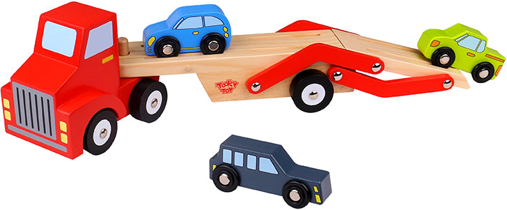 Tooky Toy Wooden Car Carrier-Vehicle Set