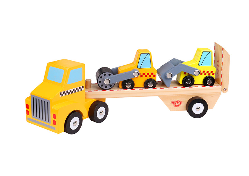 Tooky Toy Wooden Construction Vehicle Carrier