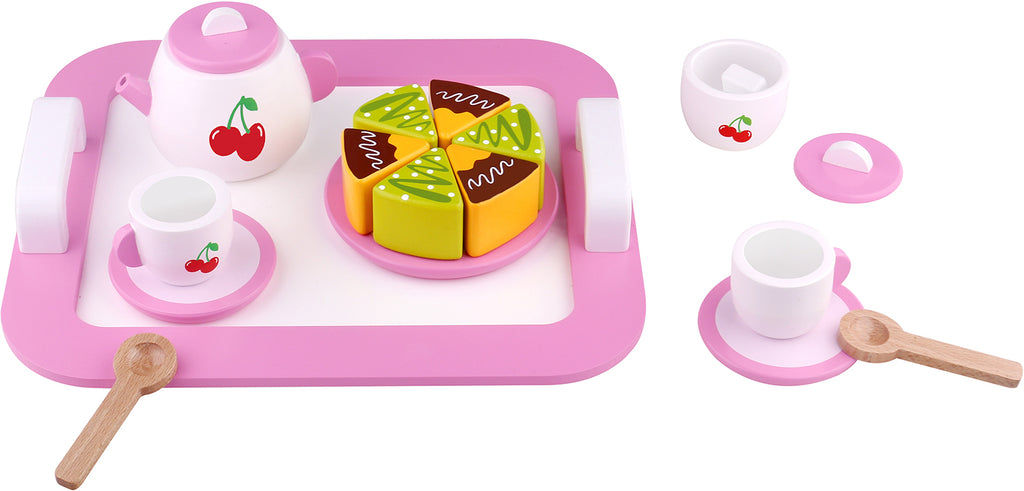 Tooky Toy Wooden Afternoon Tea Set - cherry