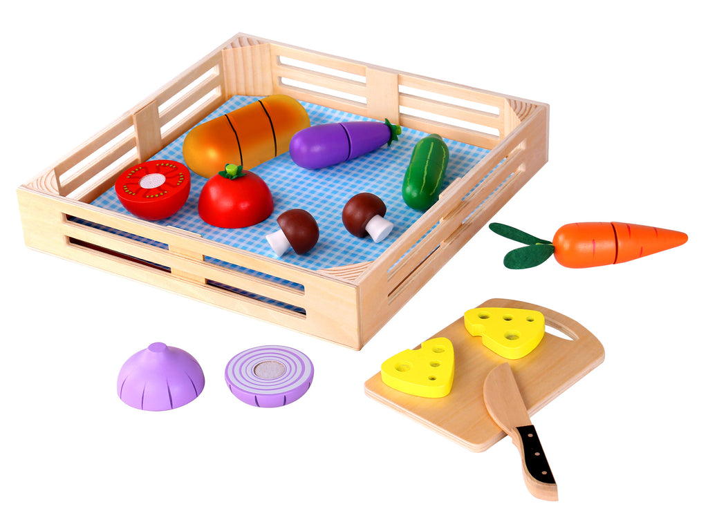 Tooky Toy Wooden Cutting Vegetables Set 9 Pieces