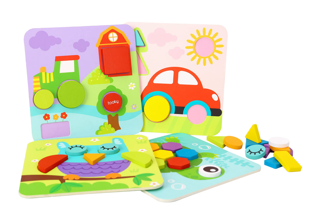 Tooky Toy 4 IN 1 SHAPE PUZZLES
