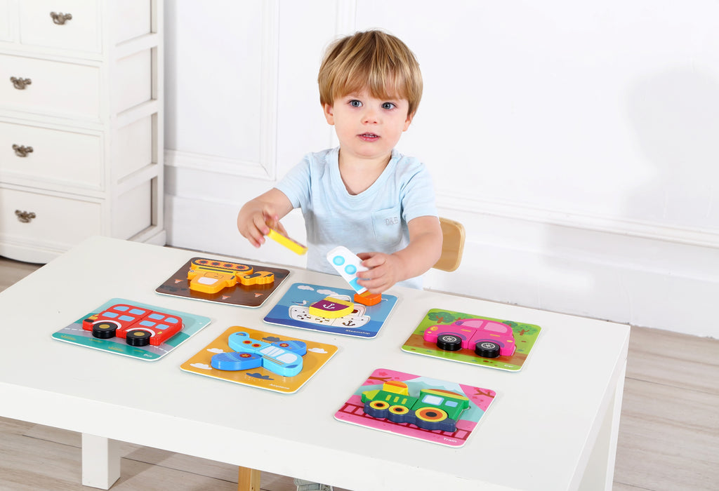 Charming 6 in 1 Wooden Educational Toy Vehicle Jigsaw Puzzle for Baby Kids 12m+