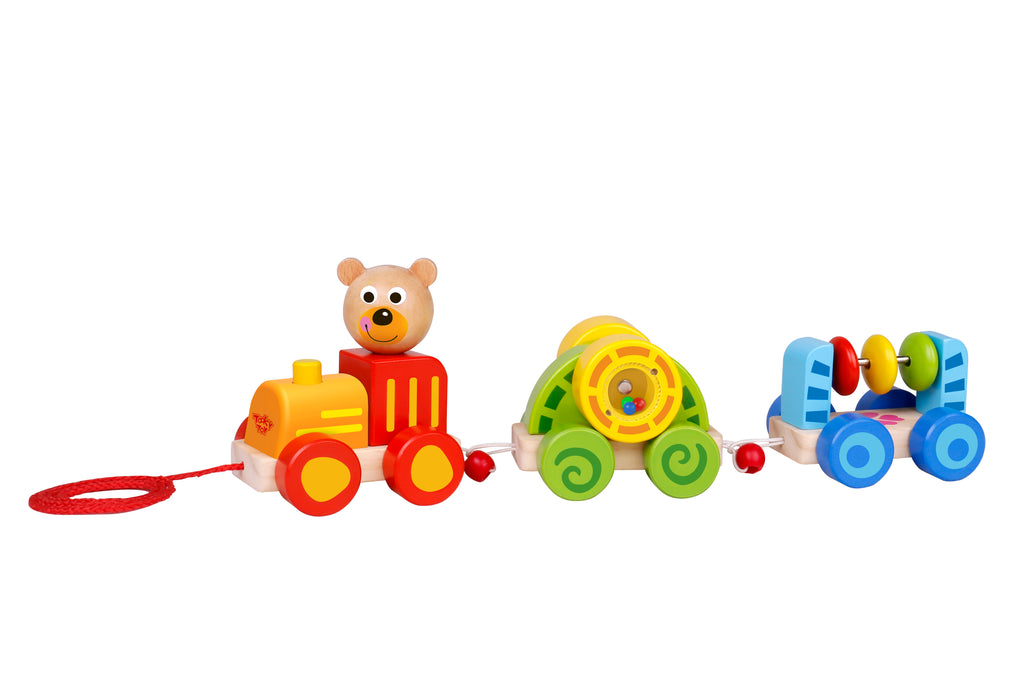 Tooky Toy Wooden Bear Train- Pull Along