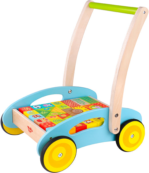 Tooky Toy Wooden Baby Walker - Forest with block