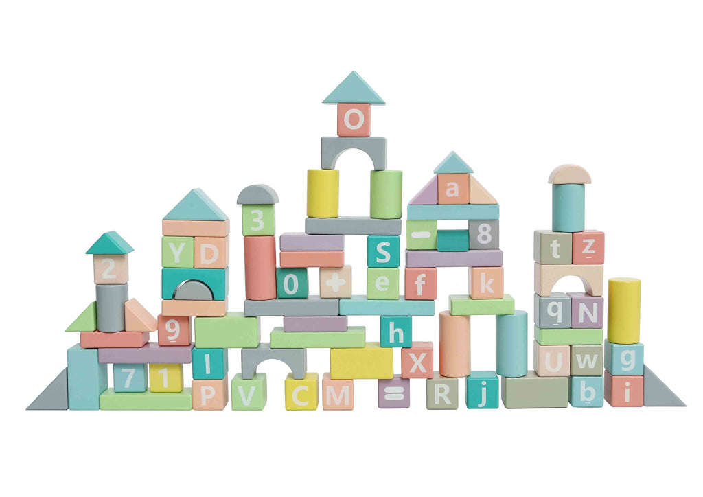 Tooky Toy Wooden 90 Pieces Block Set