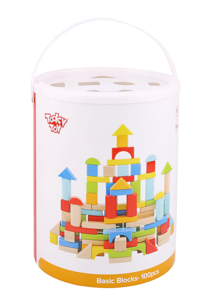 Tooky Toy Wooden 100 Pieces Block Set