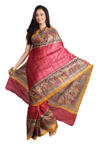 Festive Madhubani Print Pure Silk Saree in red combination