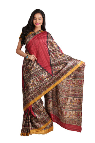 Ethnic temple print pure silk saree