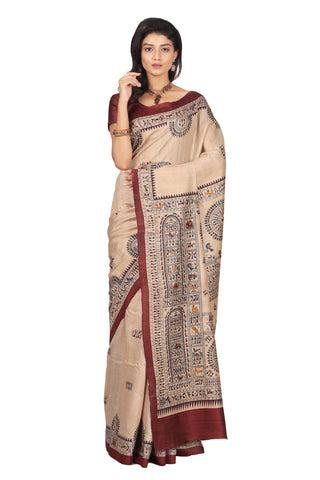 Tribal Folk Print Raw Tussar Silk Saree