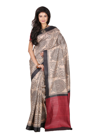 Warli Print Raw Tussar Silk Saree