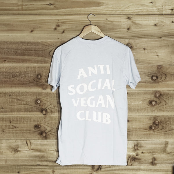 Anti Social Vegan Club Back Print T-Shirt Blue - Anti Social Vegan Club