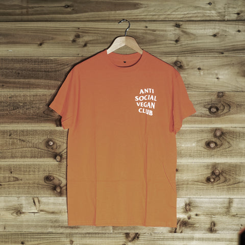 Anti Social Vegan Club Back Print T-Shirt Orange - Anti Social Vegan Club