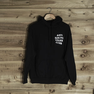 Anti Social Vegan Club Pullover Hoodie Black - Anti Social Vegan Club