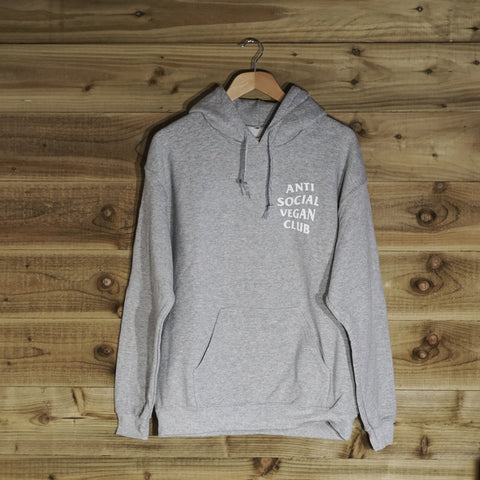 Anti Social Vegan Club Pullover Hoodie Grey - Anti Social Vegan Club