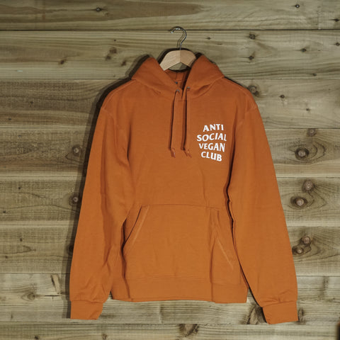 Anti Social Vegan Club Pullover Hoodie Orange - Anti Social Vegan Club