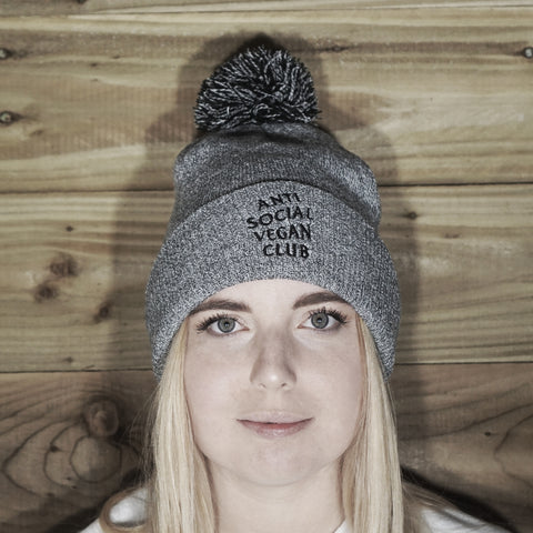Anti Social Vegan Club Bobble Beanie - Anti Social Vegan Club